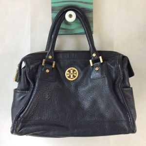 Tory Burch Classic Black Pebbled Leather Satchel